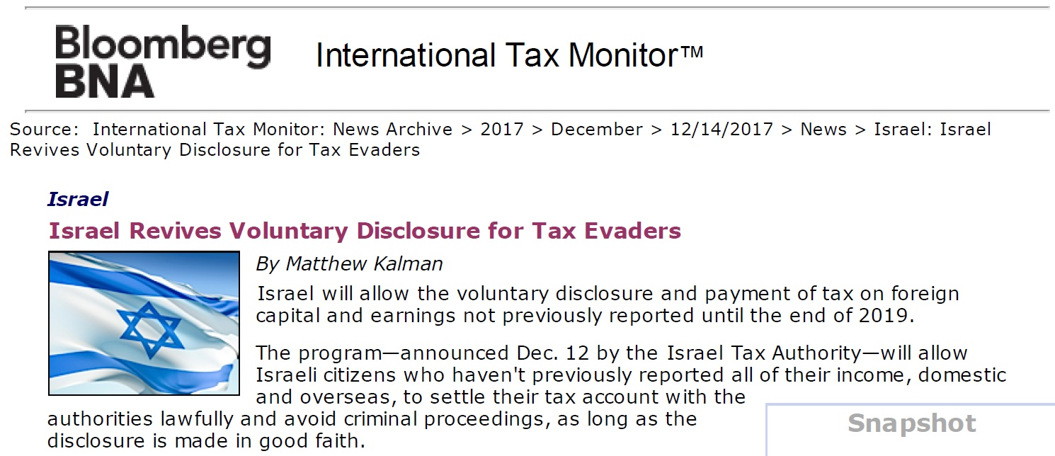 Israel Revives Voluntary Disclosure for Tax Evaders