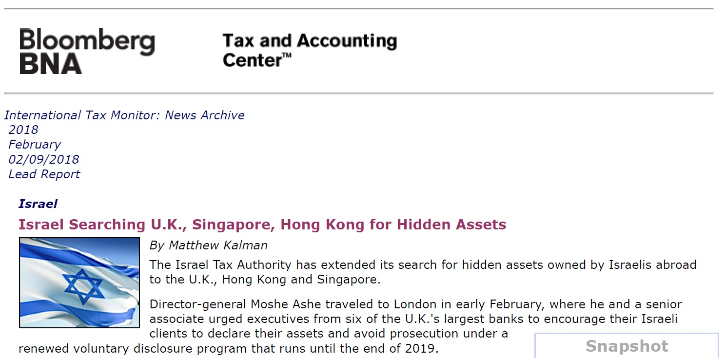 Israel Searching U.K., Singapore, Hong Kong for Hidden Assets